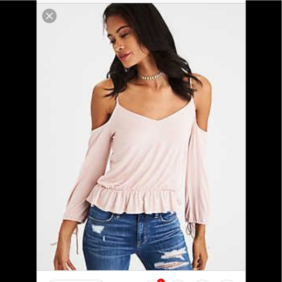 94e7070a528ae AEO soft and sexy cold shoulder tie sleeve T. L. NWT. American Eagle  Outfitters